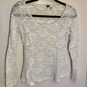 H&M | White-sheer lace Top